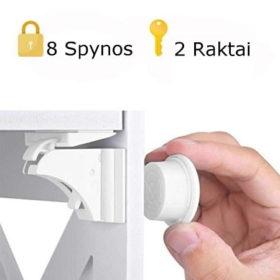Universalus magnetinis užraktas, 8 vnt.+2 raktas