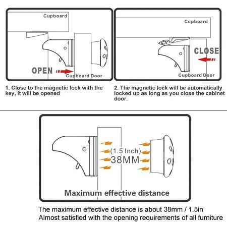 Universalus magnetinis užraktas, 4 vnt.+1 raktas